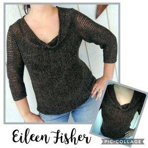 EILEEN FISHER Metallic Linen Sweater Size Med
